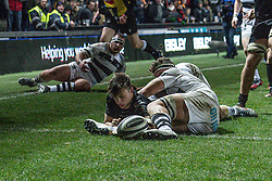 Taine Basham of Dragons scores his sides second try<br /> <br /> Photographer Craig Thomas/Replay Images<br /> <br /> Guinness PRO14 Round 7 - Dragons v Zebre - Saturday 30th November 2019 - Rodney Parade - Newport<br /> <br /> World Copyright © Replay Images . All rights reserved. info@replayimages.co.uk - http://replayimages.co.uk