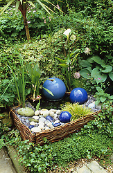 Water feature with blue glazed balls