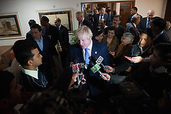 London Mayor Boris Johnson talks to the India media after meeting Chief Minister of Delhi, Sheila Dikshit, on the second day of a six-day tour of India, where he will be trying to persuade Indian businesses to invest in London, Monday November 26, 2012. Photo by Andrew Parsons / i-Images