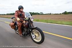 Mike Carson riding his 1930 Harley-Davidson VL in the Cross Country Chase motorcycle endurance run from Sault Sainte Marie, MI to Key West, FL (for vintage bikes from 1930-1948). Stage 2 from Ludington, MI to Milwaukee, WI, USA. Saturday, September 7, 2019. Photography ©2019 Michael Lichter.