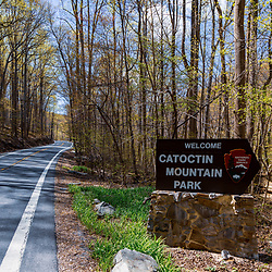 Thurmont, MD / USA - April 26, 2015:  The Welcome Sign at the Catoctin Mountain Park near Thurmont, Maryland. The Park is managed by the National Park Service.