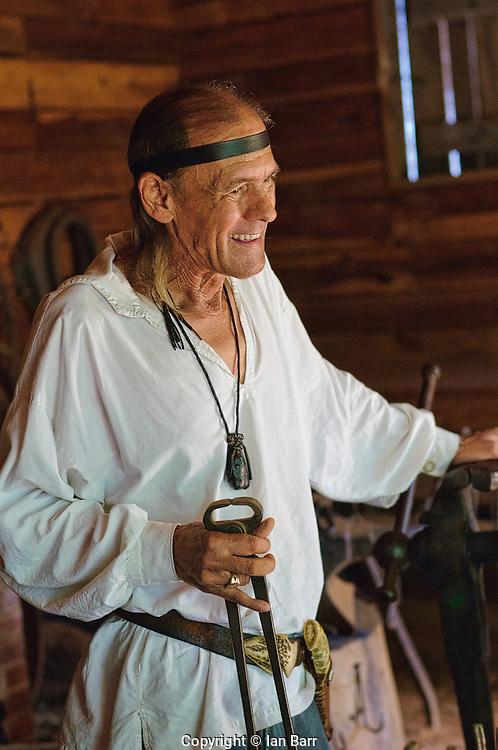 Steve: expert guide at Constitution Village, Huntsville, Alabama. Demonstrating the finer arts of blacksmithing.
