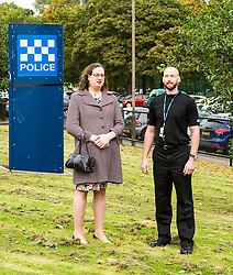 Pictured: Cathleen Lauder and Constable Grant Robertson<br /> Today, Police Scotland launched a campaign against hate crime, intolerance and prejudice. Superintendent Davie Duncan and several LGBTI-trained officers provided a briefing on the drive, which is part of Hate Crime Awareness Week. Tim Hopkins of the Equality Network and Cate Lauder, who experienced a transphobic hate crime explained the positive response she received from Police Scotland.<br /> <br /> Ger Harley | EEm 7 October 2016