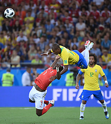 ROSTOV-ON-DON, June 17, 2018  Fernandinho (top) of Brazil vies with Breel Embolo of Switzerland during a group E match between Brazil and Switzerland at the 2018 FIFA World Cup in Rostov-on-Don, Russia, June 17, 2018. (Credit Image: © Li Ga/Xinhua via ZUMA Wire)