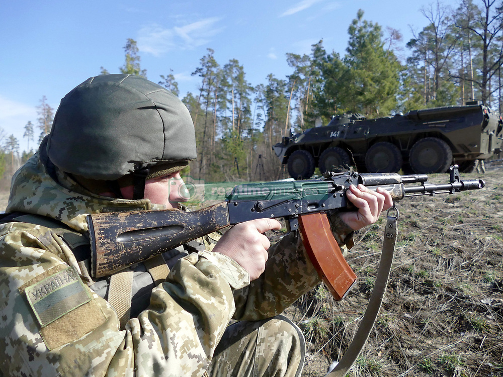 March 29, 2019 - Orshanets, Cherkasy Region, Ukraine - A serviceman aims a rifle during an exercise in tactical medicine at the Maj Gen Ihor Momot Main Personnel Training Centre of the State Border Guard Service, Orshanets village, Cherkasy Region, central Ukraine. (Credit Image: © Yulii Zozulia/Ukrinform via ZUMA Wire)