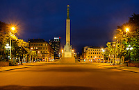 RIGA, LATVIA - CIRCA MAY 2014: The Freedom Monument in Riga at night