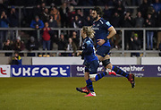 Wolrd Cup winners Sale Sharks Lood De Jager and Faf De Klerk take the filed as second half substitutes during a Gallagher Premiership Rugby Union match won by Sharks 39-0, Friday, Mar. 6, 2020, in Eccles, United Kingdom. (Steve Flynn/Image of Sport)