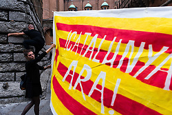 October 3, 2017 - Bologna, Italy - Rally in support to Catalonia's independence referendum in Bologna, Italy, 3rd October 2017. (Credit Image: © Michele Spatari/NurPhoto via ZUMA Press)