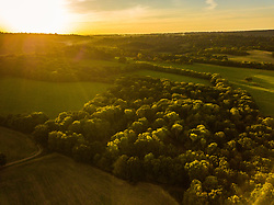The suns sets over the Surrey and Sussex countryside near Haslemere, Surrey, as the autumn colours begin to appear on the trees. Haslemere, Surrey, October 02 2018.