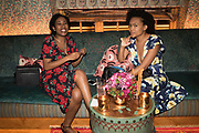 SADE AKINSANYA; ZAHRA BESWICK, spotted at Bloom & Wild's exclusive event at 5 Hertford Street last night. 5 September 2017. The event was announcing the new partnership between the UK's most loved florist, Bloom & Wild and British floral design icon Nikki Tibbles Wild at Heart. Cocooned in swaths of vibrant Autumn blooms, guests enjoyed floral-inspired cocktails from Sipsmith and bubbles from Chandon, with canapés put on by 5 Hertford Street. Three limited edition bouquets from the partnership can be bought through Bloom & Wild's website from the 1st September.  bloomandwild.com/WAH