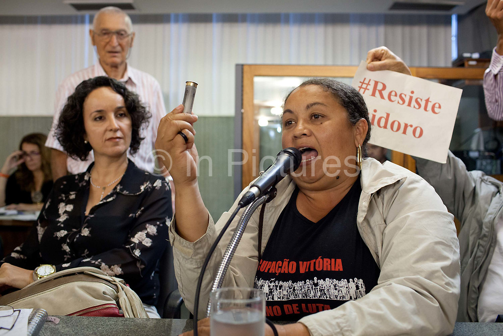 MLB protest against the planning decision to evict Isidoro, in the Government offices of Belo Horizonte. Isidoro occupation in Belo Horizonte, Minas Gerais in a large  amount of land that was occupied by the MLB, a Brazilian workers social movement, it faced eviction in July / August 2014. (photo by Phil Clarke Hill/In Pictures via Getty Images)