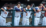 Cleveland's Aaron Boone, from left, Grady Sizemore, Coco Crisp and Ben Broussard watch as the Indians are retired in the bottom of the eighth inning yesterday against Chicago.