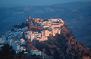 SPAIN, ANDALUSIA CASARES; a picturesque mountain village or 'pueblo blanco' near Estepona above the Costa del Sol