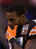 MORNING JOURNAL/DAVID RICHARD&#xA;Receiver Braylon Edwards walks off the field after the Pittsburgh Steelers pulled out a come-from-behind win over Cleveland.<br />