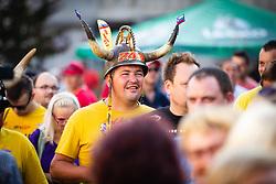 Fan wearing a horned helmet before sprejem Tima Gajsreja, on Avgust 27, 2019 in Maribor, Slovenia. Photo by Blaž Weindorfer / Sportida