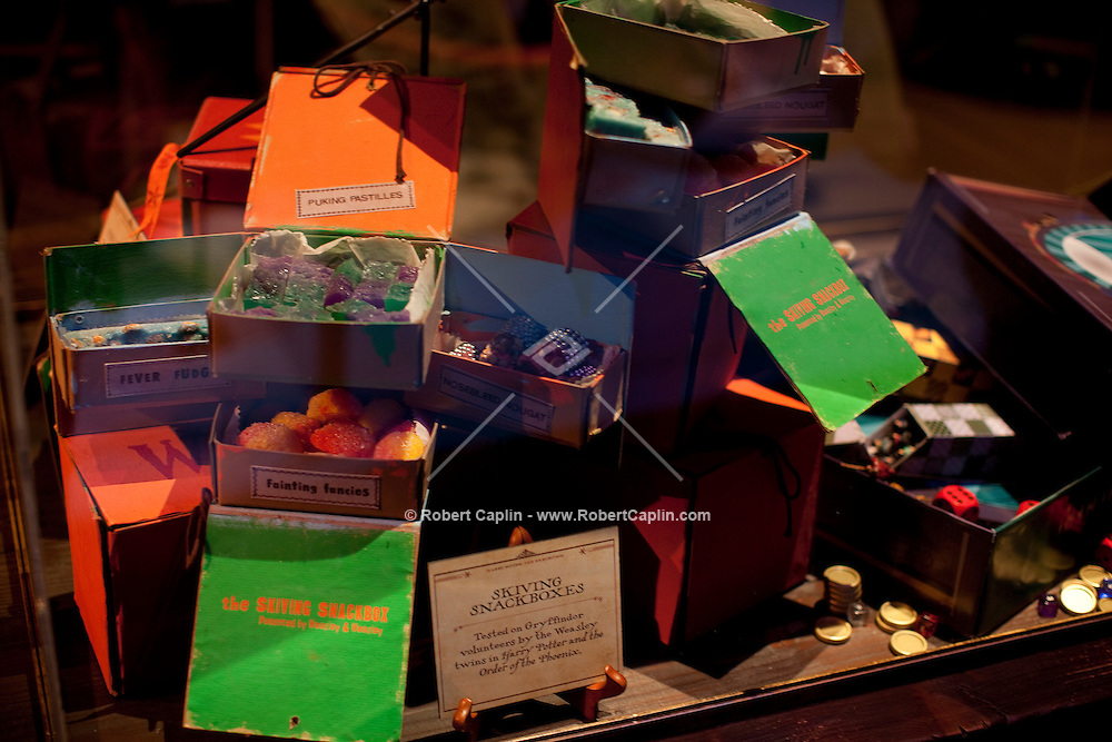 """Movie memorabilia at the """"Harry Potter"""" exhibition at Discovery Times in New York. ..Photo by Robert Caplin."""