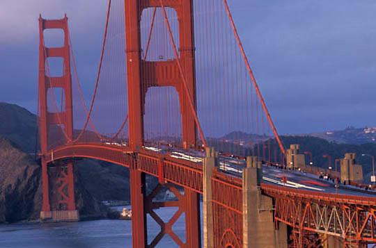 Points of Interest, Golden Gate Bridge in San Francisco, California.