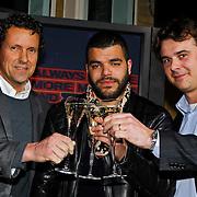 NLD/Amsterdam/20100215 -  Lancering MTV Mobile, HI directeur Eric Jan Doorenbosch, mtv presentator Sef en mtv directeur Niels Baas