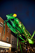 Giant Praying Mantis insect invades Bow's Roman Road for the Greenwich and Docklands International Festival, London, England, UK. Performers (by Sarruga, a company from Catalan in Spain) dressed as large mechanical insects came parading down Roman Road in the East End interacting with the public and buildings in a celebration accompanied by music and special effects.