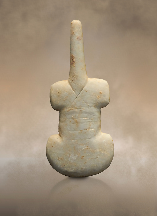Cycladic violin shaped figurine. Early Cycladic Period I (Grotta-Pelos Phase 3200-2800 BC). National Archaeological Museum, Athens. .<br /> <br /> If you prefer to buy from our ALAMY PHOTO LIBRARY  Collection visit : https://www.alamy.com/portfolio/paul-williams-funkystock/cycladic-art-artefacts.html Type into the LOWER SEARCH WITHIN GALLERY box to refine search by adding background colour, place, museum etc<br /> <br /> Visit our CYCLADIC CIVILISATIONS PHOTO COLLECTIONS for more photos to download or buy as wall art prints https://funkystock.photoshelter.com/gallery-collection/Cycladic-civilisation-Ancient-Greek-Artefacts-art-Photos-Pictures-Images/C0000CmevVvnC.XU