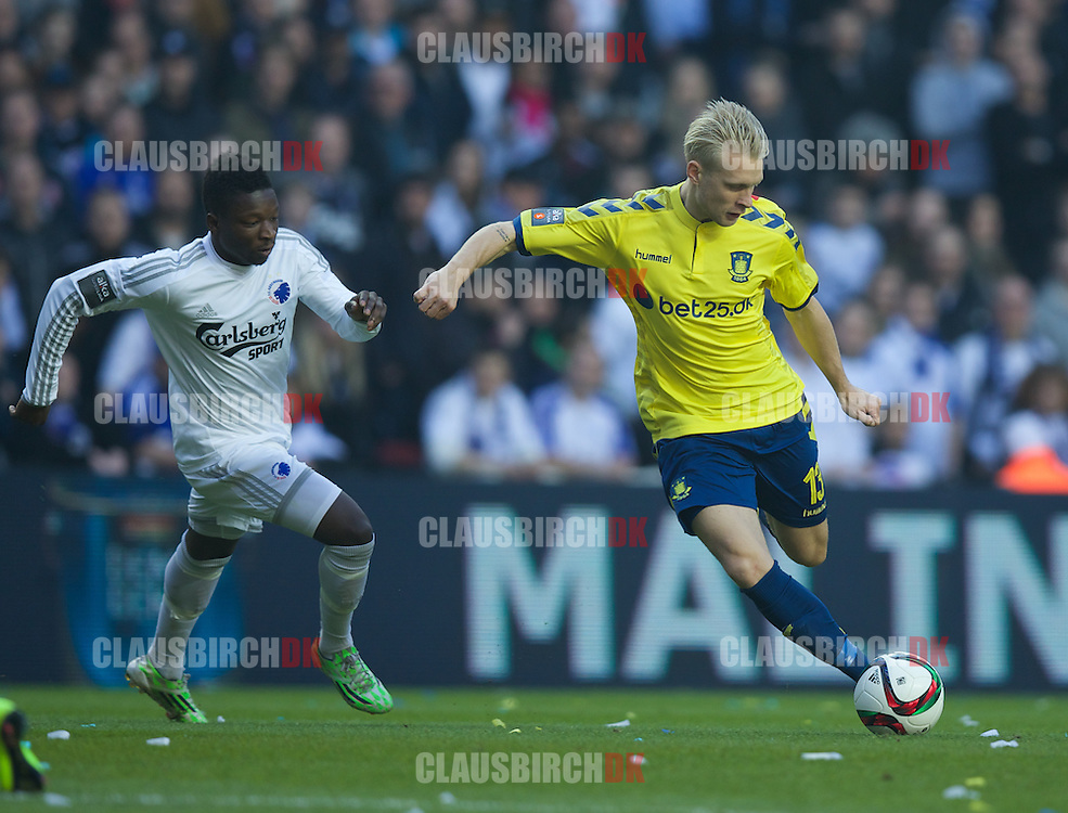 Johan Larsson of Brøndby IF in action during the Danish Alka Superliga match between FC København and Brøndby IF at Telia Parken on March 8, 2015 in Copenhagen, Denmark. (Photo by Claus Birch)