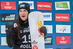 Cheyenne Loch (GER), celebrates, during Final Run at Parallel Giant Slalom at FIS Snowboard World Cup Rogla 2019, on January 19, 2019 at Course Jasa, Rogla, Slovenia. Photo byJurij Vodusek / Sportida