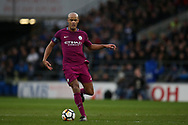 Vincent Kompany of Manchester city in action.The Emirates FA Cup, 4th round match, Cardiff city v Manchester City at the Cardiff City Stadium in Cardiff, South Wales on Sunday 28th January 2018.<br /> pic by Andrew Orchard, Andrew Orchard sports photography.