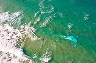 Aerial view of kitesurfing at Bokarina Beach, Sunshine Coast, Queensland, Australia