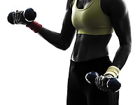 close up one woman exercising weight training fitness workout in silhouette on white background