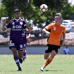 BRISBANE, AUSTRALIA - JANUARY 8: Dejan Spaseski of the Glory and Danny Driver of the Roar compete for the ball during the round 8 Foxtel National Youth League match between the Brisbane Roar and Perth Glory at AJ Kelly Field on January 8, 2017 in Brisbane, Australia. (Photo by Patrick Kearney/Brisbane Roar)