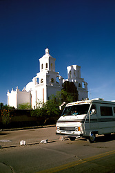 RV life: RV life at Tucson, Mission San Xavier del Bac, AZ  .Photo Copyright: Lee Foster, lee@fostertravel.com, www.fostertravel.com,  (510) 549-2202.Image rvlife210.
