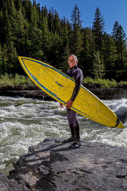 River Surfer Mike is credited with being the first to surf the Hoback section of the South Fork of the Snake River. He surfs a rapid called Lunch Counter when the rivers flow is perfect in early June in Wyoming. Licensing and Open Edition Prints