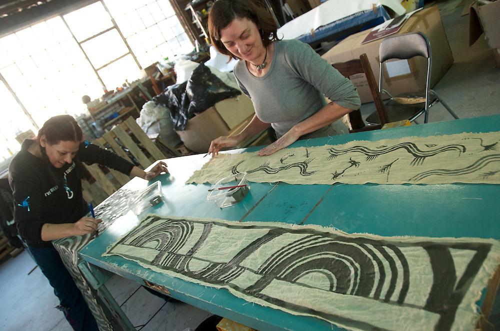 My bogolan creation in the foreground. Indigo dye and bogolan workshop held with Aboubakar Fofana in Johannesburg, South Africa