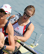 Munich, GERMANY,   Friday morning heats, GBR W2-. Bow Helen GLOVER and Heather STANNING.   2012 FISA World Cup on the Munich Olympic Rowing Course,  Friday  15/06/2012. [Mandatory Credit Peter Spurrier/ Intersport Images].