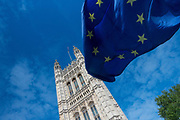 A European flag blows in the wind in front of Westminster on the 16th May 2019 in London in the United Kingdom.