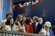 Jimmy Carter celebrates the nomination victory at the Democratic Convention in 1976...Photograph by Dennis Brack bs b 17