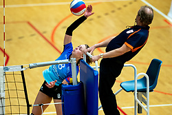 Marly Bak of Zwolle and referee in action during the first league match between Djopzz Regio Zwolle Volleybal - Laudame Financials VCN on February 27, 2021 in Zwolle.