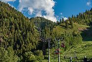 Aspen Mountain and the Silver Queen Gondola in summer.