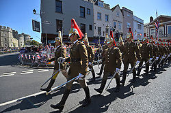 Members of the armed forces head towards Windsor Castle, Berkshire ahead of the wedding of Prince Harry and Meghan Markle this weekend.