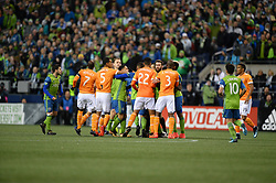 November 30, 2017 - Seattle, Washington, U.S - Soccer 2017: Tempers flare as the Houston Dynamo play the Seattle Sounders in the 2nd leg of the MLS Western Conference Finals match at Century Link Field in Seattle, WA. (Credit Image: © Jeff Halstead via ZUMA Wire)