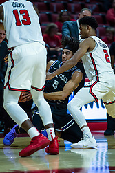NORMAL, IL - October 23: Brodric Thomas slips to the floor guarded by Zach Copeland during a college basketball game between the ISU Redbirds and the Truman State Bulldogs on October 23 2019 at Redbird Arena in Normal, IL. (Photo by Alan Look)