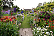 A grass path leading to The Sundial Garden which contains lush borders of Delphiniun, Hemerocallis amd Helenun at Wollerton Old Hall, Market Drayton, Shropshire, UK
