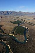 Aerial, Wanaka farm lands, South Island, New Zealand
