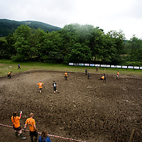 Football players take part in Day 2 of the World Swamp Soccer Championships 2009 at Strachur, Argyll. .Picture Michael Hughes/Maverick ...