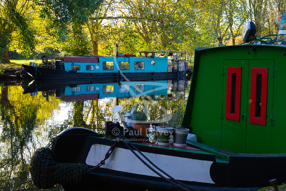 Mail Online: The barge Sunshine which started out as an empty shell and is now a small but comfortable home nestles up against the opposite bank of the Lea Navigation in East London. North Hackney, London, November 02 2018.