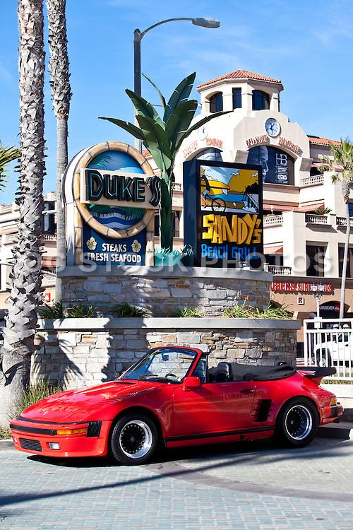 Red Porsche In Huntington Beach