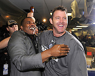 CHICAGO - SEPTEMBER 30:  Jim Thome #25 of the Chicago White Sox celebrates with Sox General Manager Ken Williams in the clubhouse after the game against the Minnesota Twins at U.S. Cellular Field in Chicago, Illinois on September 30, 2008.  The White Sox defeated the Twins 1-0 to win the American League Central title.  Thome hit a solo home run for the only run of the game.  The Sox and Twins had to play a one game playoff to determine the American League Central Champion.  (Photo by Ron Vesely)