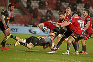 GLOUCESTER RUGBY'S Lloyd Evans  Harlequins James Chisholm  during the Gallagher Premiership Rugby match between Gloucester Rugby and Harlequins at the Kingsholm Stadium, Gloucester, United Kingdom on 6 December 2020.
