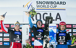 Second placed Radoslav Yankov (BUL), winner Nevin Galmarini (SUI) and third placed Zan Kosir (SLO) celebrate at trophy ceremony after Final Run at Men's Parallel Giant Slalom at FIS Snowboard World Cup Rogla 2017, on January 28, 2017 at Course Jasa, Rogla, Slovenia. Photo by Vid Ponikvar / Sportida