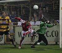 Photo: Barry Bland.<br />Boston United v Swindon Town. The FA Cup. 16/11/2005.<br />Nathan Abbey saves a shot from Christian Roberts.